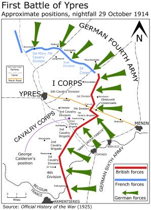 First Battle of Ypres, 29 October 1914